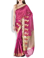 Magenta Paisley Brocade Work Chanderi Silk Saree - By