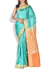 Mint Green Paisley Brocade Work Satin Silk Saree - By