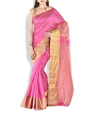 Pink Chanderi Silk Saree With Gold Border - By