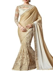 Chickoo Art Soft Net And Satin Georgette Saree - By