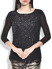 Black Poly Net, Poly Georgette Top - By