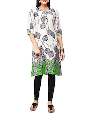 White & Green Printed Rayon Cotton Kurta - By