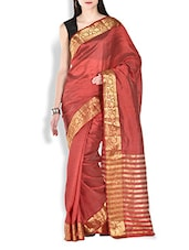Maroon Floral Brocade Work Chanderi Silk Saree - By