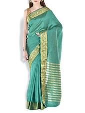 Emerald Green Floral Brocade Work Chanderi Silk Saree - By