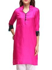 Pink Cotton Plain Kurta - By