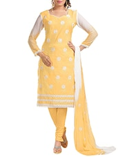 Embroidered Cotton Dress Material (Yellow) - By