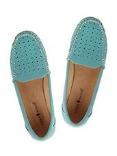 Green Leatherette Loafers - By