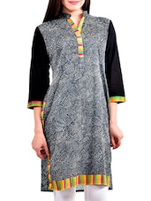 Grey Embroidered And Printed Rayon Kurta - By