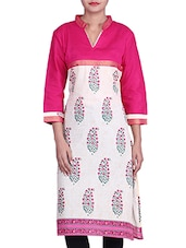 White And Pink Paisley Printed Cotton Kurta - By