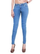 Light Blue Cotton Denim Plain Jeans - By