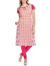 White And Pink Printed Cotton Kurta - By