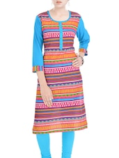 Blue, Pink Cotton Kurta - By