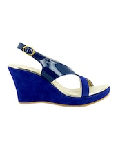 Blue Plain Synthetic Leather Wedges - By