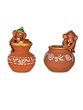 Combo of Terracotta Handpainted Baby Ganesha -  online shopping for Figurines