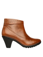 Tan ankle length studded boots with zipper -  online shopping for boots