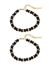 black and gold metal alloy anklet (set of 2) -  online shopping for anklets and payals
