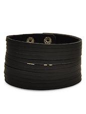 Black Faux Leather Studded Bracelet - By