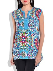 Turquoise Multi Rayon, Viscose Kurta - By
