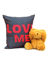Gooey Brown Teddy With Beautiful Cushion Gift For Valentine - By