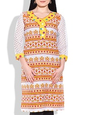 Yellow, White, Red Cotton, Lace Fabric Kurti - By