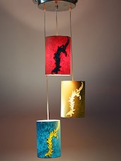 Practicalities Pattern Dark Multicolor Hanging Lamp Made With Acrylic Sheet And Handmade Paper - By