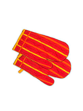 Orange Cotton Oven Gloves Set - By