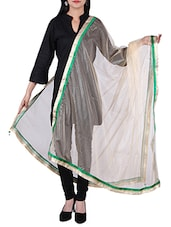 Net Bordered Dupatta With Crystal Work All Over - By