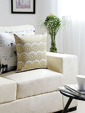 Ivory Jacquard Cushion Cover - By