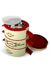 red Plastic, steel Lunch Box -  online shopping for Lunch Boxes