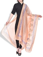 Peach Chanderi Hand Block Printed Floral Dupatta - By