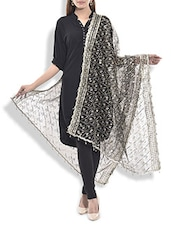 Black Embellished Net Dupatta - By