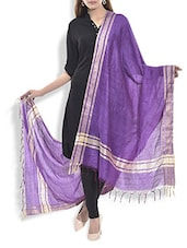 Purple And Gold Silk Dupatta - By
