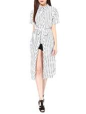 Black,  White Poly Crepe Dress. - By
