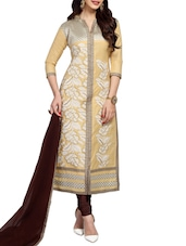 Beige Lilan Cotton Embroidered Dress Material - By