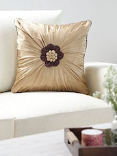 Beige Polyester Set Of 2 Cushion Cover - By