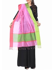Pink And Green Cotton Silk Dupatta - By