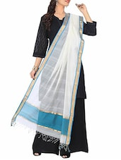 White And Blue Cotton Silk Dupatta - By