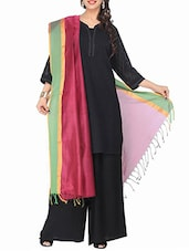 Maroon And Green Cotton Silk Dupatta - By