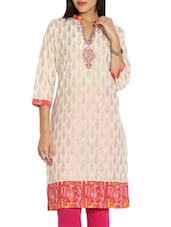 Cream- Pink   Colored, Cotton Printed Kurta - By