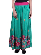 Green Embroidered Cotton Maxi Skirt - By