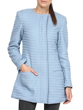 Blue Cotton Blend Coat - By