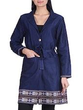 Navy Blue Glaze Cotton Coat - By