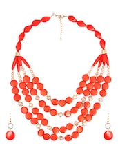 Orange Metal Alloy Necklace - By