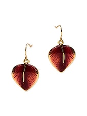 Gold Plated Leaf Shaped Earring - By
