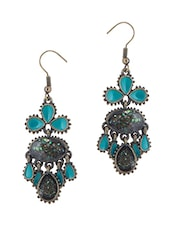 Blue Metal Alloy, Stone Drop  Earring - By