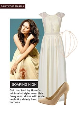 White Dresses, Gold Others with Beige Pumps. Online shopping look by Rina Walia S