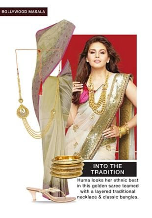 White Sarees, Gold Bangles, Gold Sandals with Gold Pendants. Online shopping look by Rina Walia S