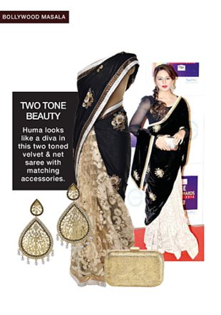 Black Sarees, Gold Earrings with Gold Clutches. Online shopping look by Rina Walia S