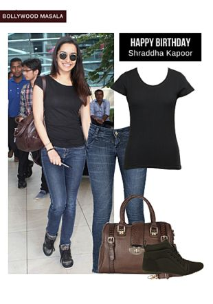Blue Jeans, Black Tees, Green Boots with Brown Handbags. Online shopping look by LimeRoad