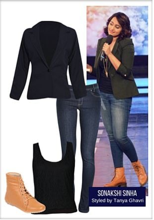 Black Tops, Blue Jeans, Brown Boots with Black Blazers. Online shopping look by LimeRoad